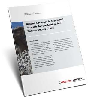 Recent Advances in Elemental Analysis for the Lithium Ion Battery Supply Chain